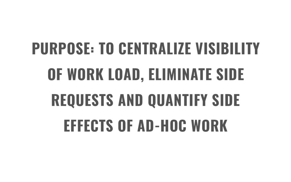 PURPOSE: TO CENTRALIZE VISIBILITY OF WORK LOAD,...
