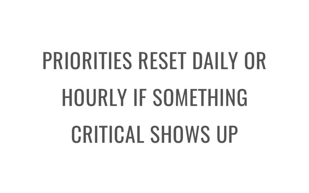 PRIORITIES RESET DAILY OR HOURLY IF SOMETHING C...
