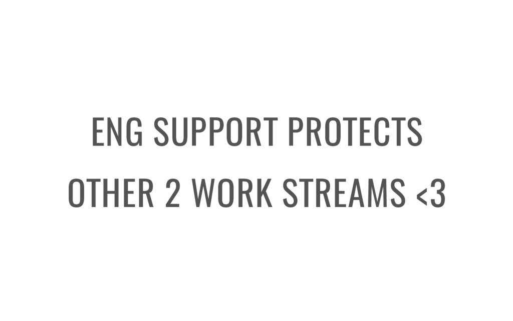 ENG SUPPORT PROTECTS OTHER 2 WORK STREAMS <3