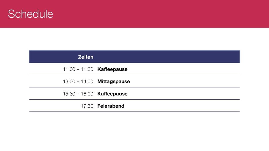 Schedule Zeiten 11:00 – 11:30 Kaffeepause 13:00...