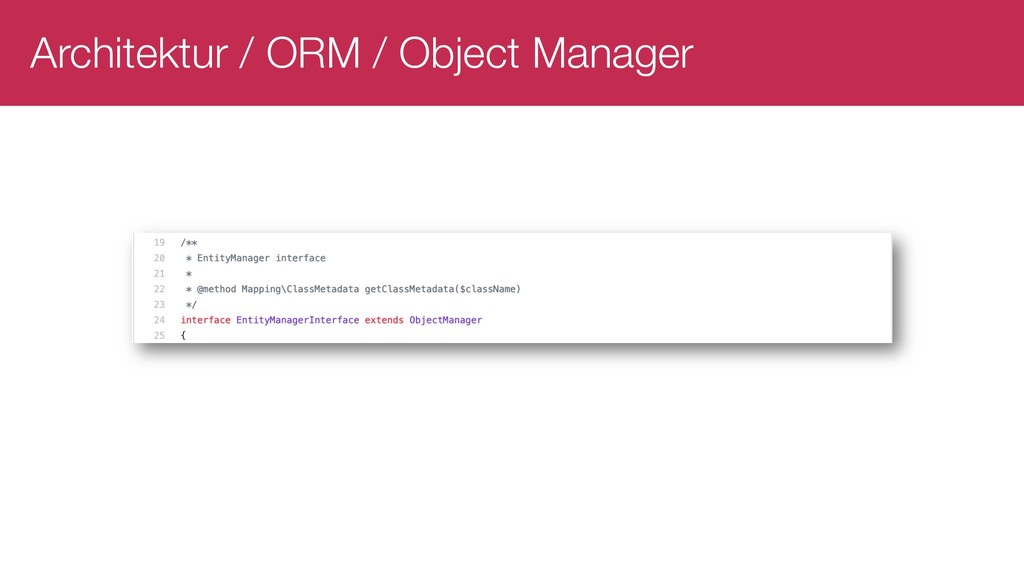 Architektur / ORM / Object Manager
