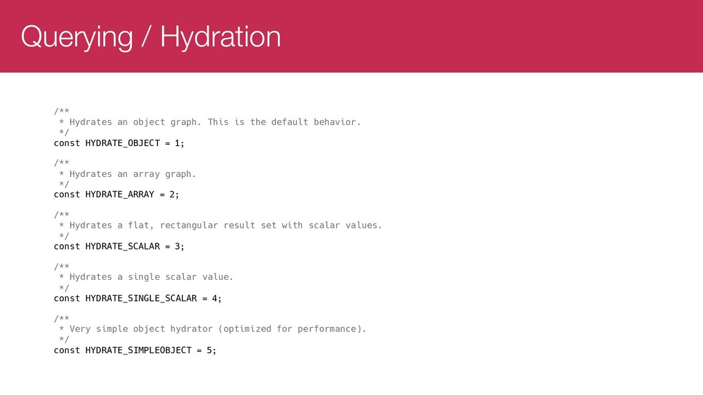 Querying / Hydration /** * Hydrates an object g...