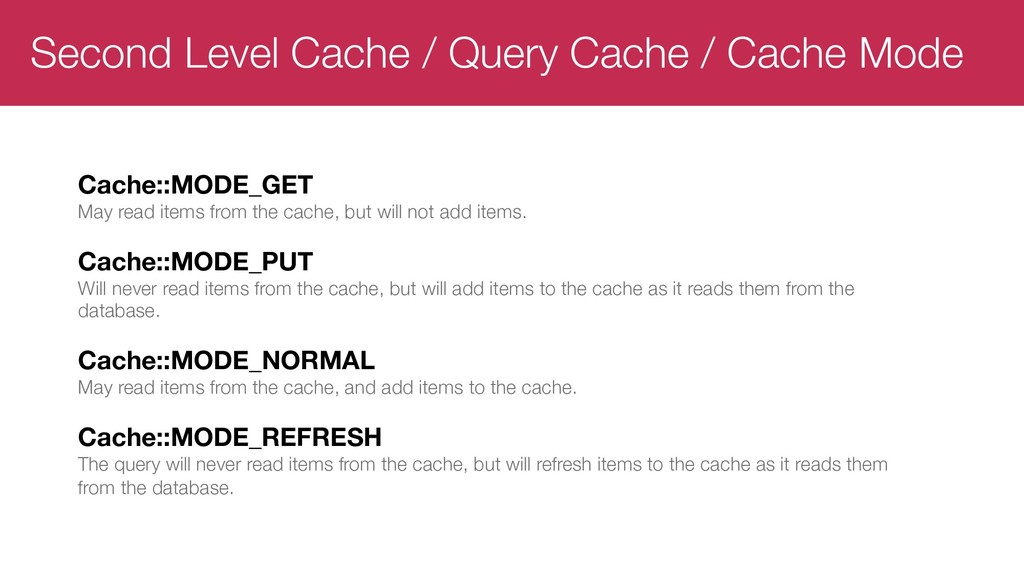 Second Level Cache / Query Cache / Cache Mode C...