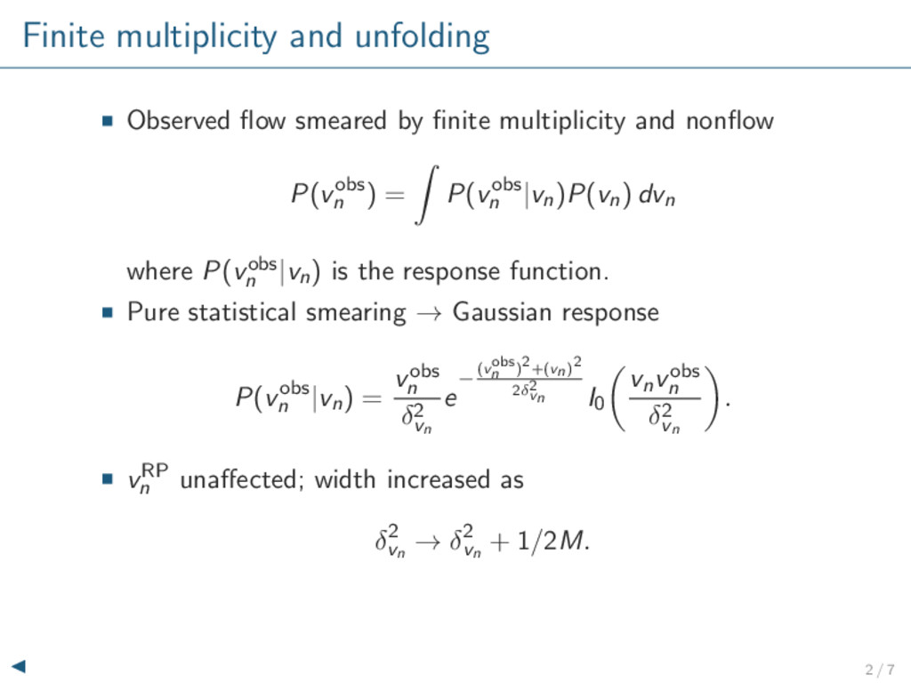 Finite multiplicity and unfolding Observed flow ...