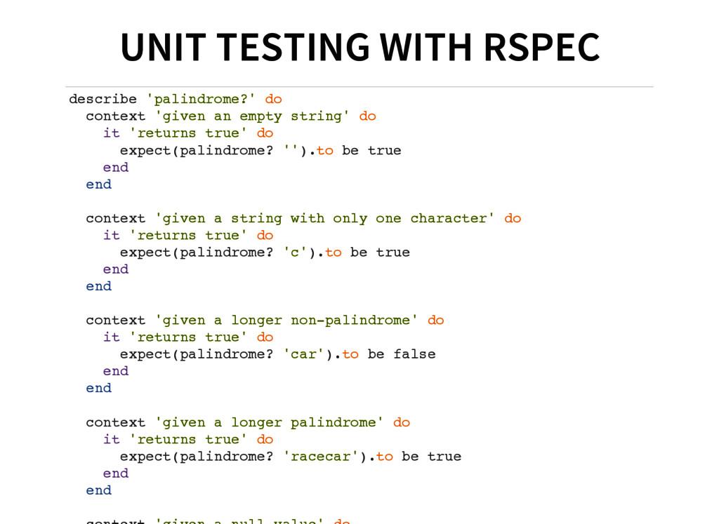 UNIT TESTING WITH RSPEC d e s c r i b e ' p a l...