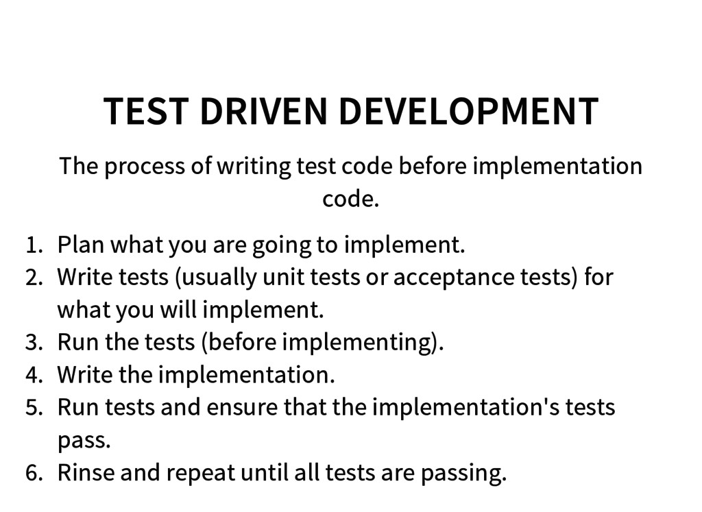 TEST DRIVEN DEVELOPMENT The process of writing ...