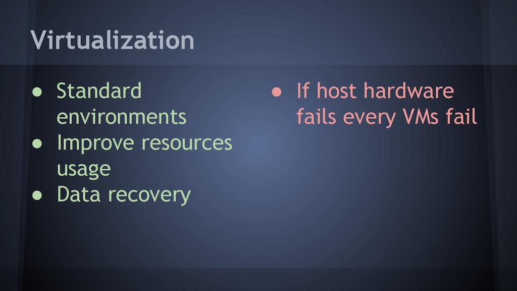 Virtualization ● If host hardware fails every V...