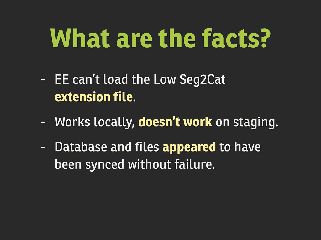 - EE can't load the Low Seg2Cat extension file....