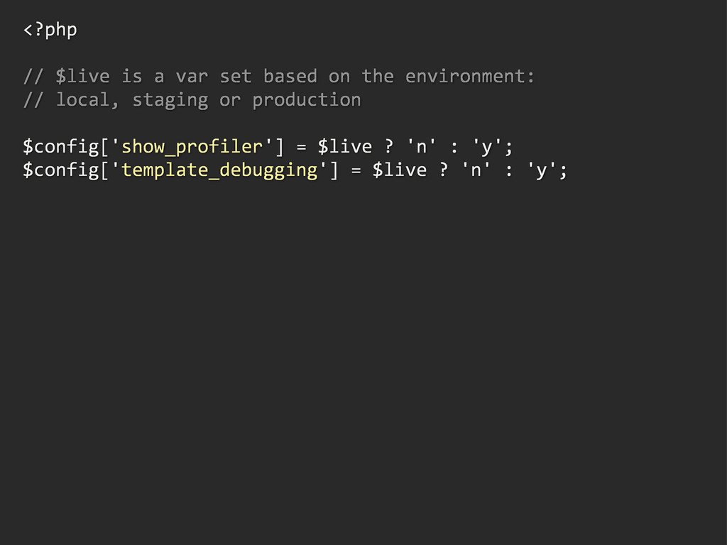 <?php // $live is a var set based on th...