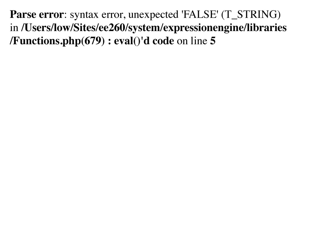 Parse error: syntax error, unexpected 'FALSE' (...