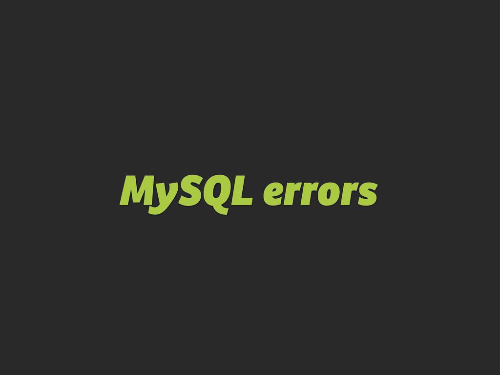 MySQL errors