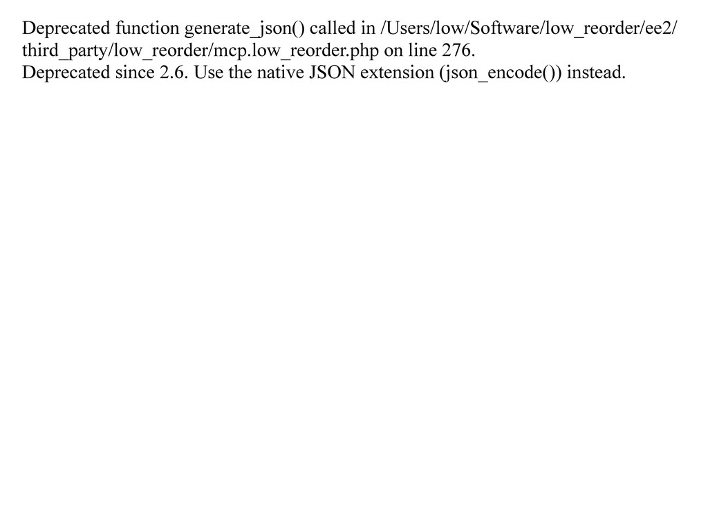 Deprecated function generate_json() called in /...