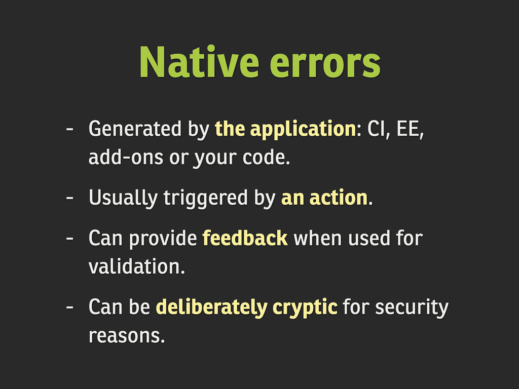 Native errors - Generated by the application: C...