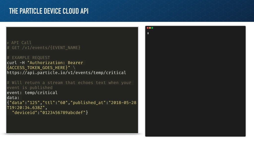 THE PARTICLE DEVICE CLOUD API # API Call # GET ...