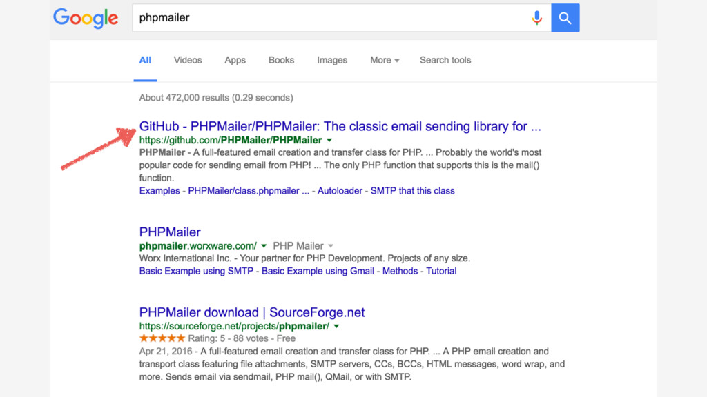 SCREENSHOT OF PHPMAILER GOOGLE