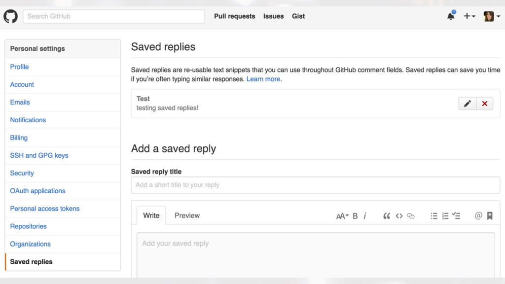 SETTINGS PAGE ON GITHUB FOR ADDING SAVED REPLIES