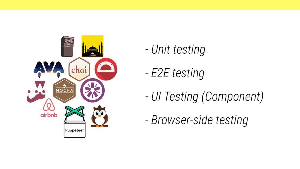 - Unit testing - E2E testing - UI Testing (Comp...