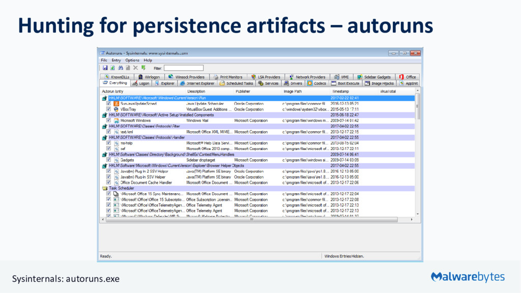 Hunting for persistence artifacts – autoruns Sy...