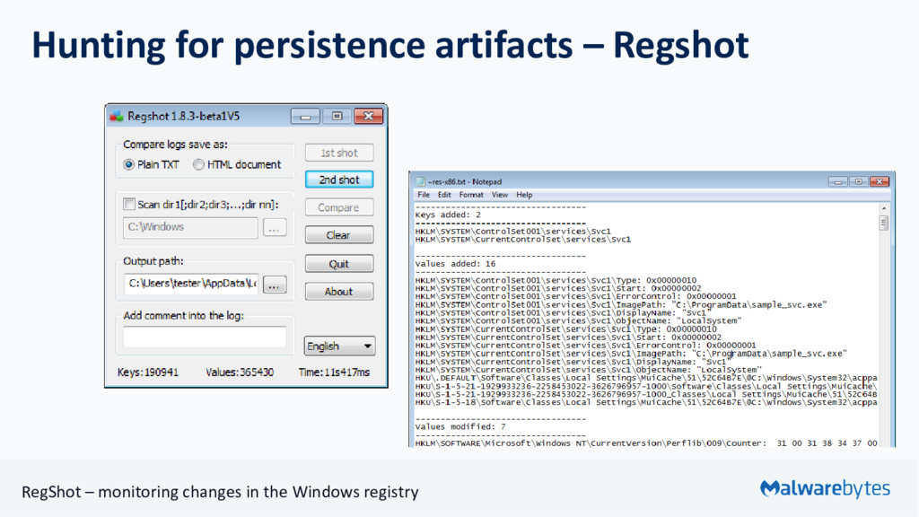 Hunting for persistence artifacts – Regshot Reg...