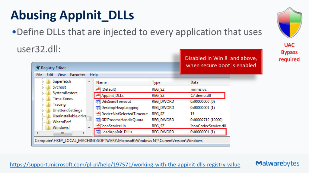 Abusing AppInit_DLLs •Define DLLs that are inje...