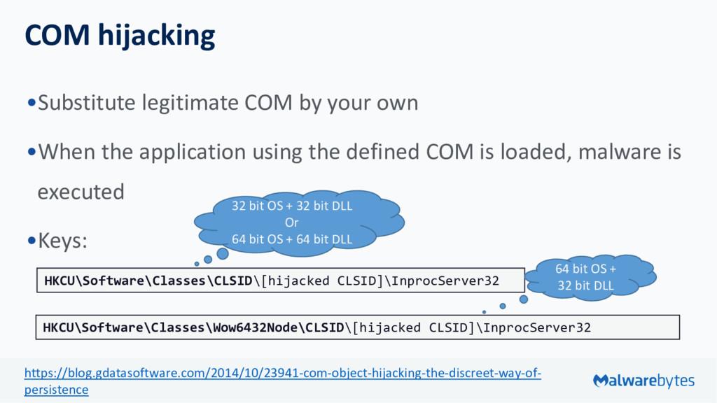 COM hijacking •Substitute legitimate COM by you...