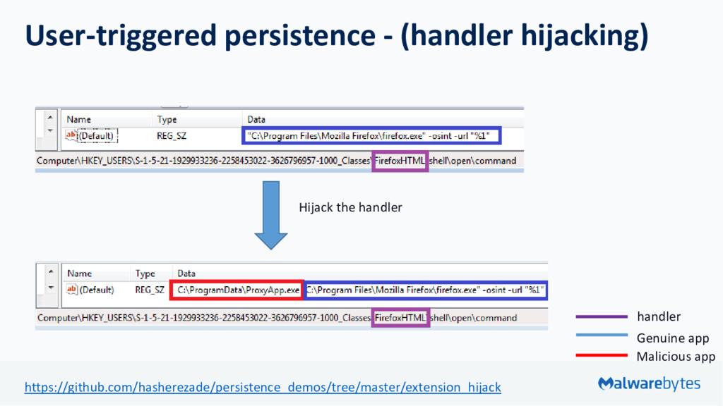 User-triggered persistence - (handler hijacking...