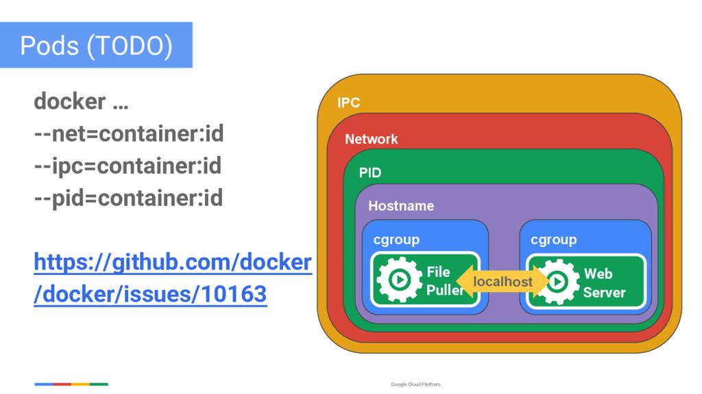 Google Cloud Platform Pods (TODO) docker … --ne...