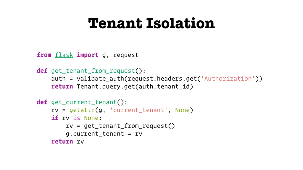 Tenant Isolation from flask import g, request d...