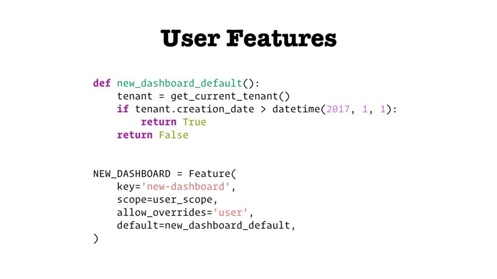 User Features def new_dashboard_default(): tena...