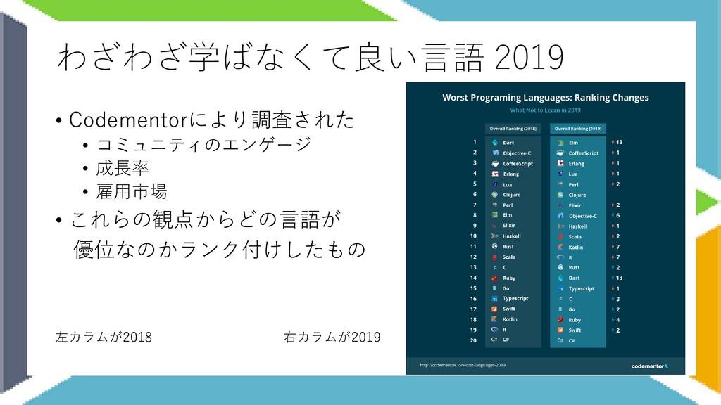 わざわざ学ばなくて良い言語 2019 • Codementorにより調査された • コミュニテ...