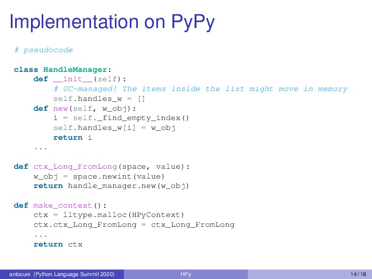 Implementation on PyPy # pseudocode class Handl...