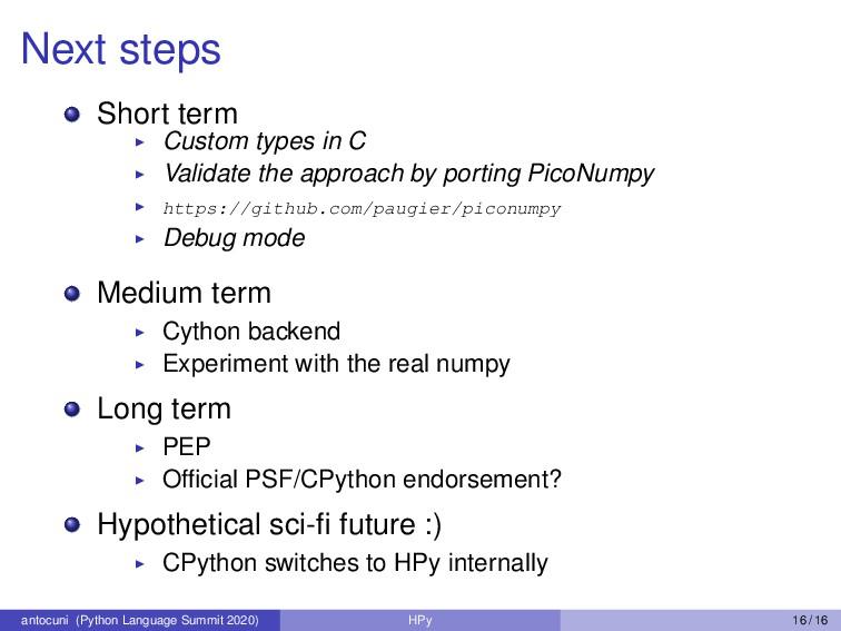 Next steps Short term Custom types in C Validat...