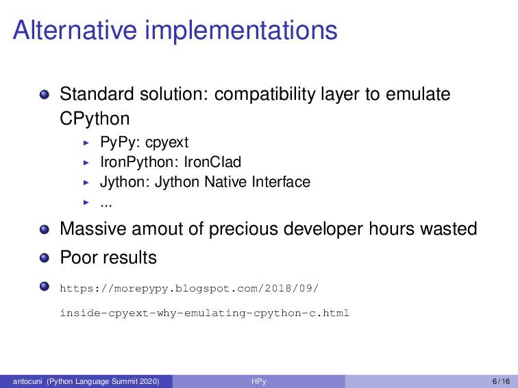 Alternative implementations Standard solution: ...