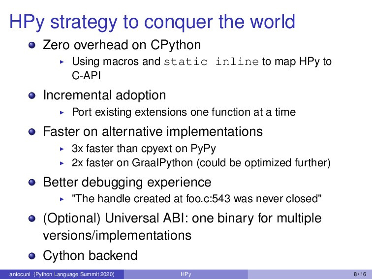 HPy strategy to conquer the world Zero overhead...