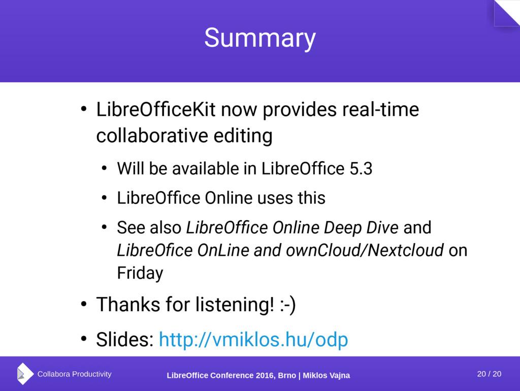 20 / 20 LibreOffice Conference 2016, Brno | Mik...