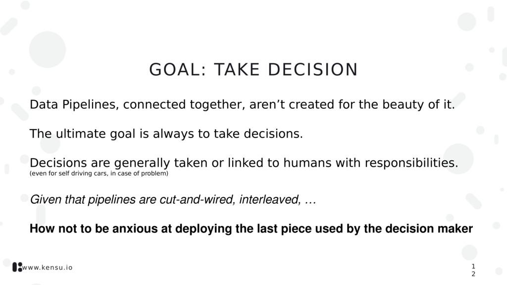 www.kensu.io GOAL: TAKE DECISION Data Pipelines...