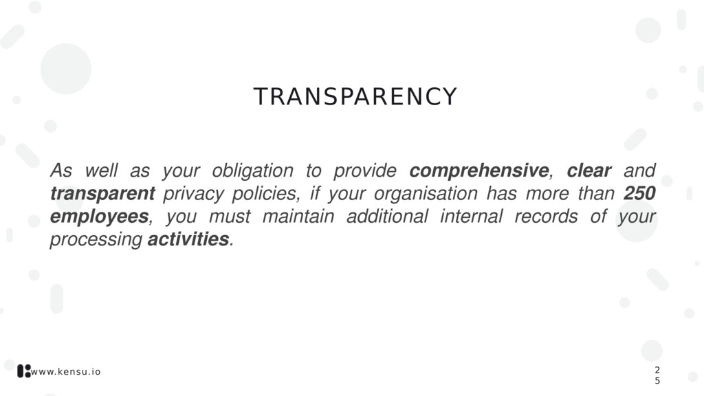 www.kensu.io TRANSPARENCY As well as your oblig...