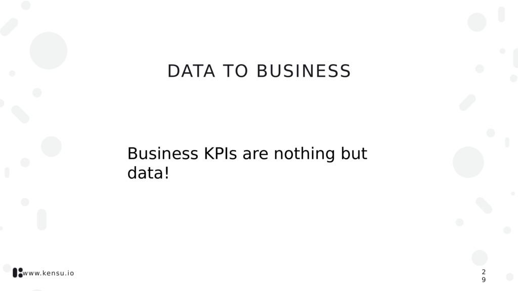 www.kensu.io DATA TO BUSINESS 2 9 Business KPIs...