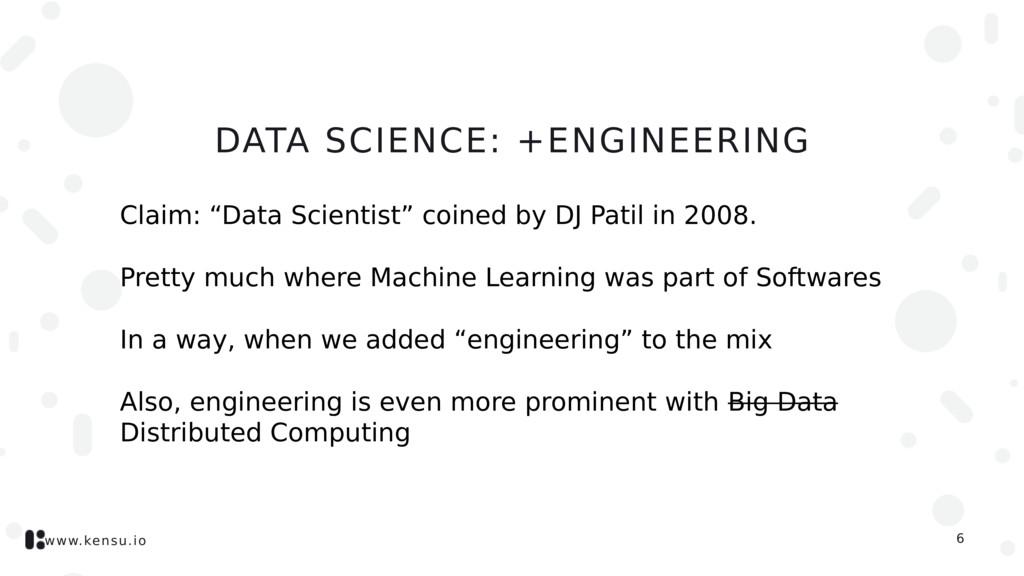 www.kensu.io DATA SCIENCE: +ENGINEERING Claim: ...