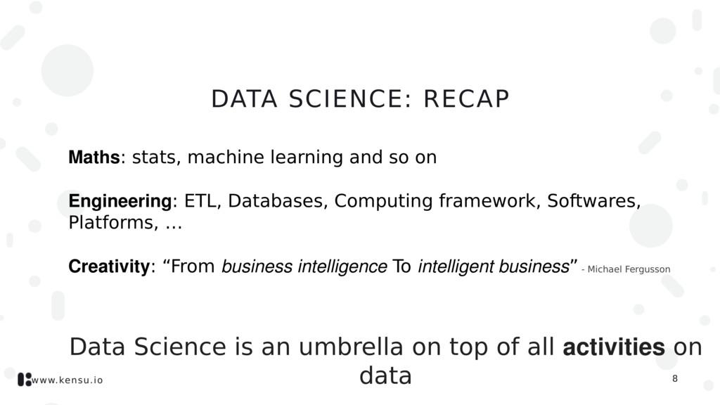www.kensu.io DATA SCIENCE: RECAP Maths: stats, ...
