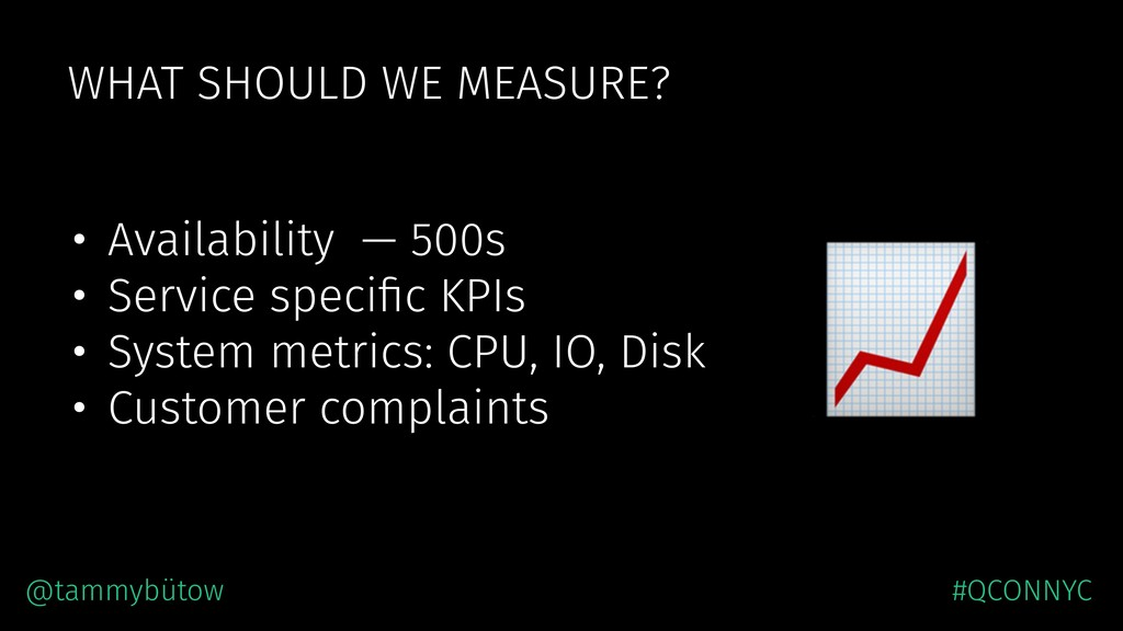 WHAT SHOULD WE MEASURE? • Availability — 500s •...