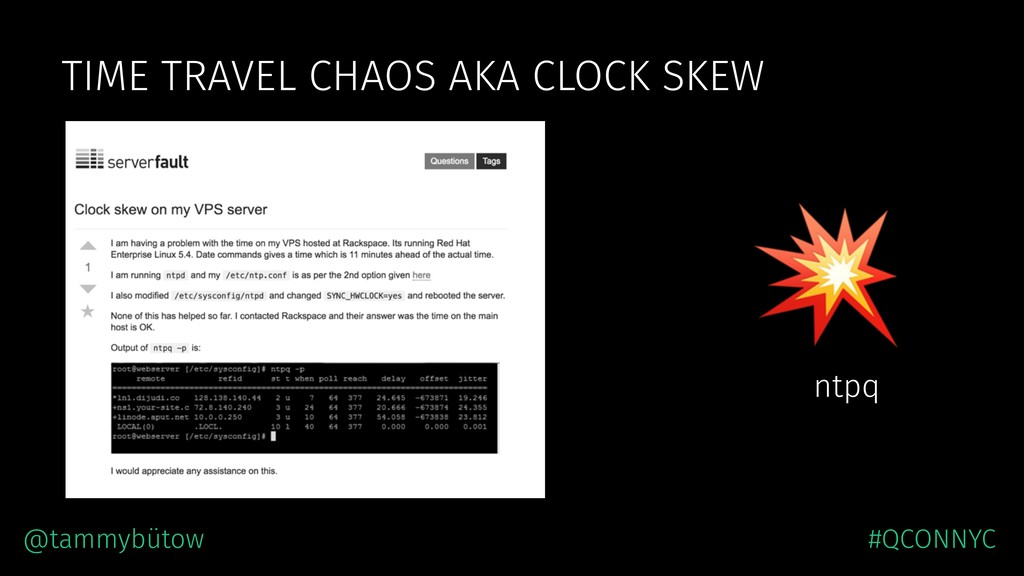 TIME TRAVEL CHAOS AKA CLOCK SKEW  ntpq @tammybü...