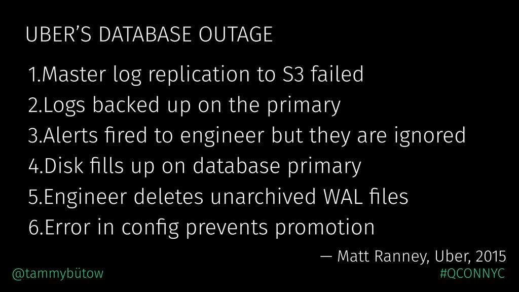 UBER'S DATABASE OUTAGE 1.Master log replication...