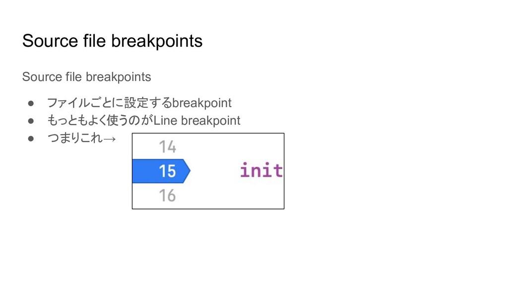 Source file breakpoints ● ファイルごとに設定するbreakpoint...