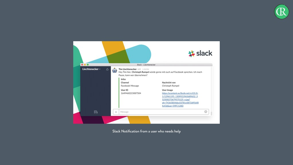 Slack Notification from a user who needs help