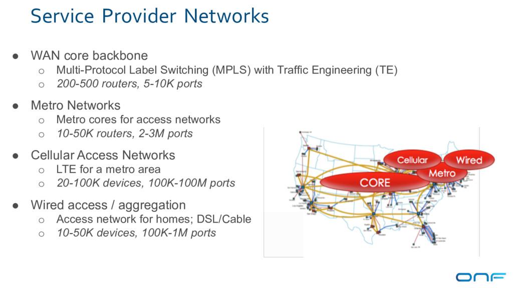 Service Provider Networks ● WAN core backbone o...