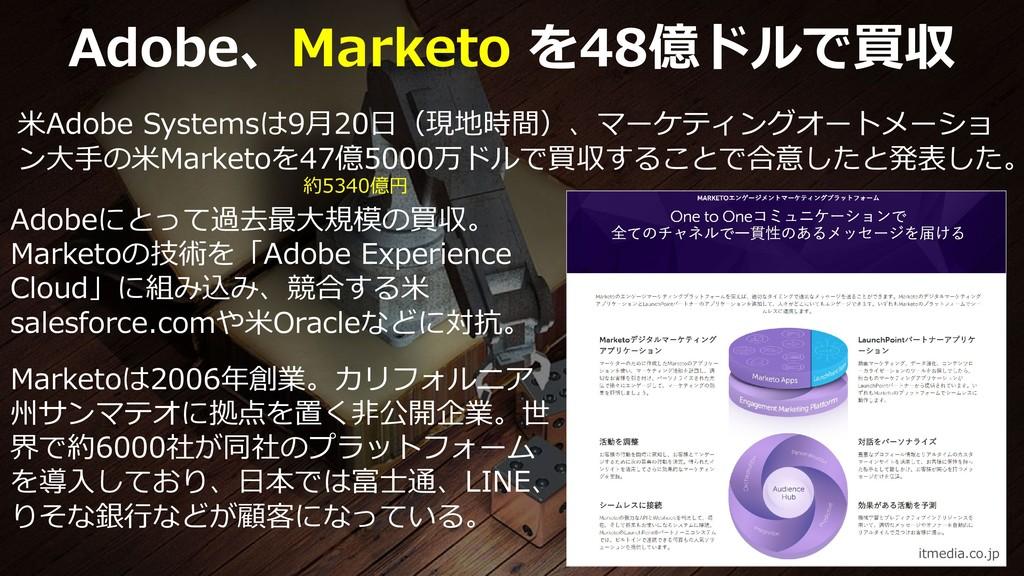 69 Adobe、Marketo を48億ドルで買収 米Adobe Systemsは9月20日...