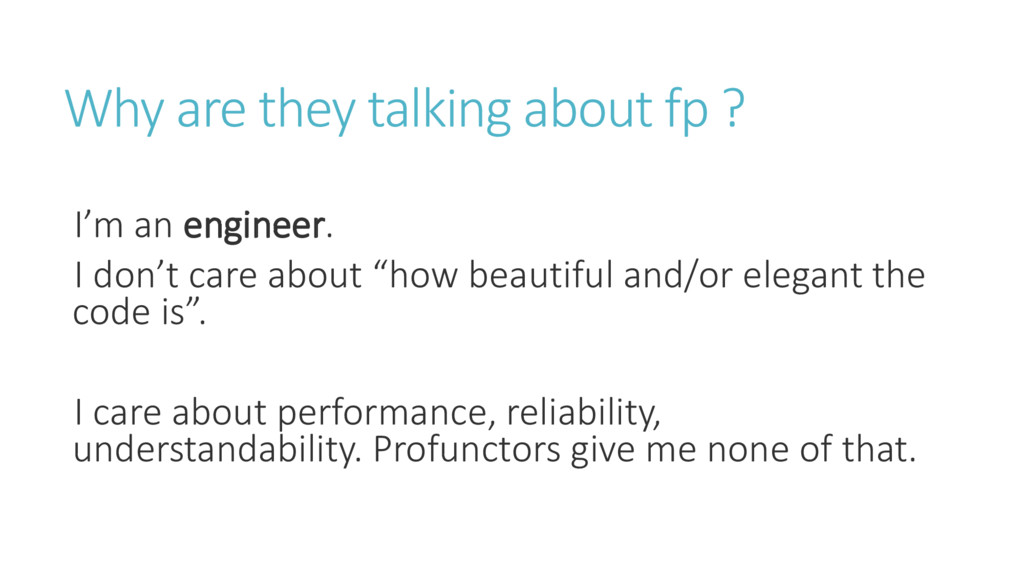 Why are they talking about fp ? I' a engineer. ...