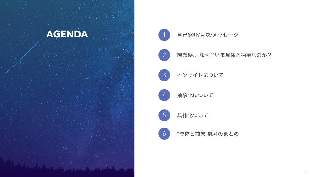 3 AGENDA 1 2 ࣗݾհ//ϝοηʔδ ՝ײ… ͳͥʁ͍·۩ମͱநͳͷ͔ʁ ...