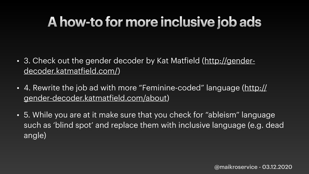 A how-to for more inclusive job ads • 3. Check ...